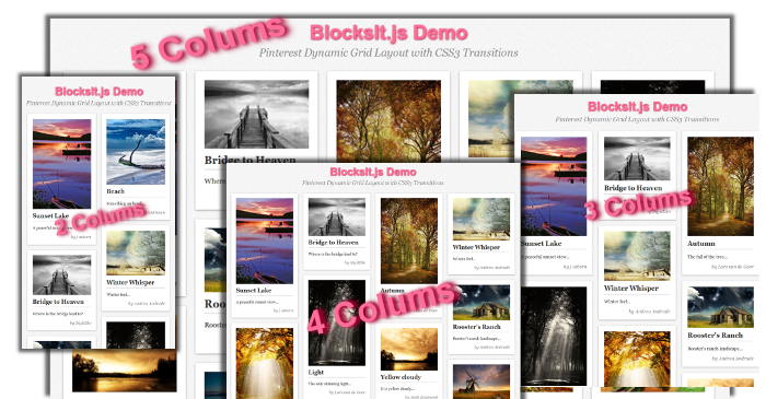 BlocksIt.js - jQuery Plugin for Dynamic Grid Layout like Pinterest
